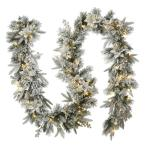 6 ft. Feel Real Frosted Colonial Artificial Christmas Garland with 400 Dual Color LED Cosmic Lights
