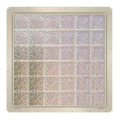 46.75 in. x 46.75 in. x 3.25 in. Ice Pattern Glass Block Window with Almond Colored Vinyl Nailing Fin