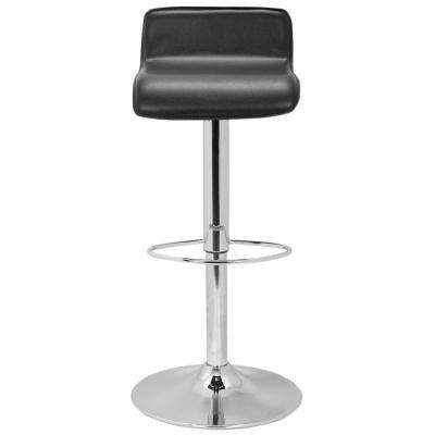 Aubrey Adjustable Height Chrome Swivel Cushioned Bar Stool