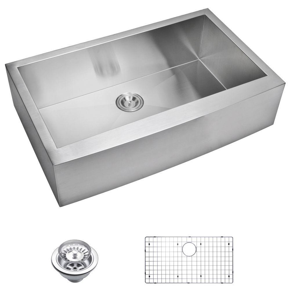 water creation farmhouse apron front zero radius stainless steel 36 in single bowl kitchen sink. Black Bedroom Furniture Sets. Home Design Ideas