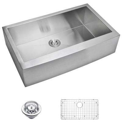 Farmhouse Apron Front Zero Radius Stainless Steel 36 in. Single Bowl Kitchen Sink with Strainer and Grid in Satin