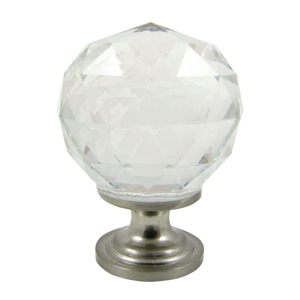 Clear Crystal 1-1/4 in. Satin Nickel Round Cabinet Knob (10-Pack)