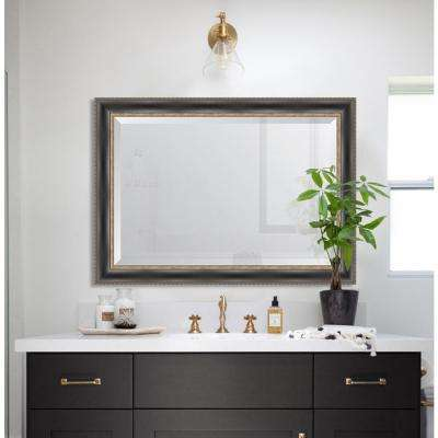 31 in. x 43 in. Framed Black with Silver Embossed Mirror