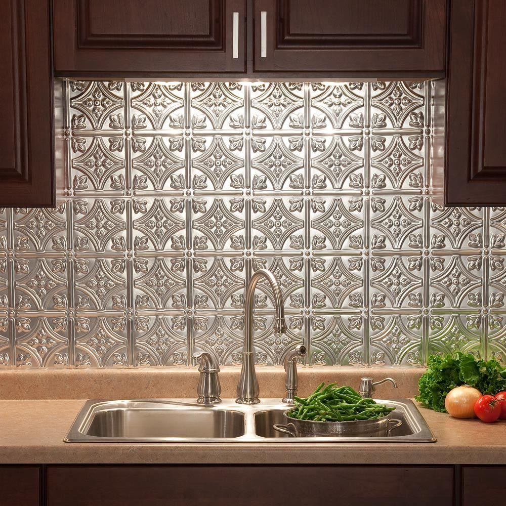 Fasade 24 in. x 18 in. Traditional 1 PVC Decorative Backsplash Panel in Brushed Aluminum