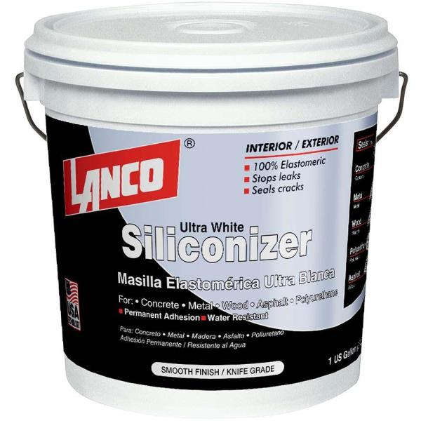 1 Gal. Siliconizer White Elastomeric Crack Filler Smooth Knife Grade for Permanent Water Resistant Adhesion