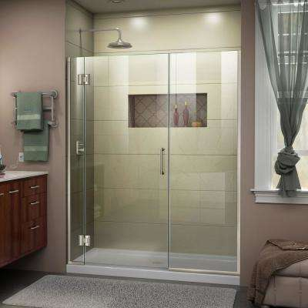 Unidoor-X 52 to 52.5 in. x 72 in. Frameless Hinged Shower Door in Brushed Nickel