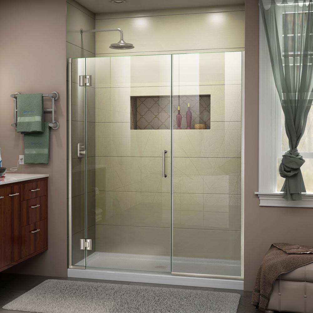Unidoor-X 63.5 to 64 in. x 72 in. Frameless Hinged Shower Door in Brushed Nickel