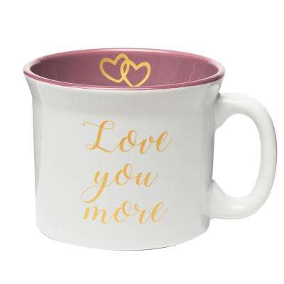 Love You More 20 oz. White-Pink Ceramic Coffee Mug
