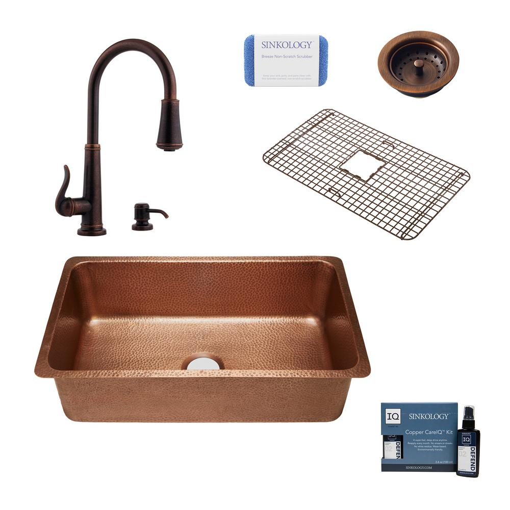 SINKOLOGY David All-in-One Undermount Copper 31-1/4 in.Single Bowl Kitchen Sink with Pfister Rustic Bronze Faucet and Strainer