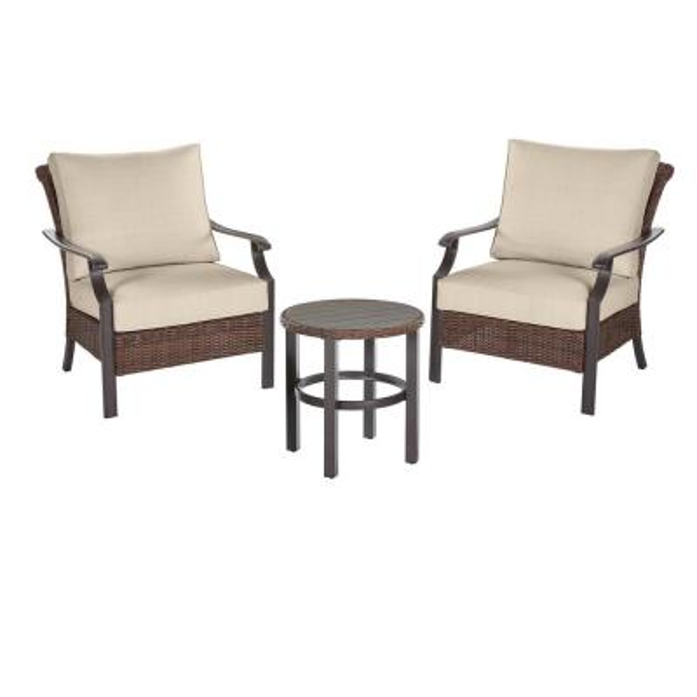 Harper Creek 3-Piece Brown Steel Outdoor Patio Chair Set with CushionGuard Putty Tan Cushions