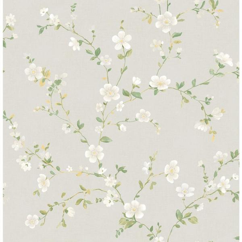 A-Street Delphine White Floral Trail Wallpaper 2657-22251