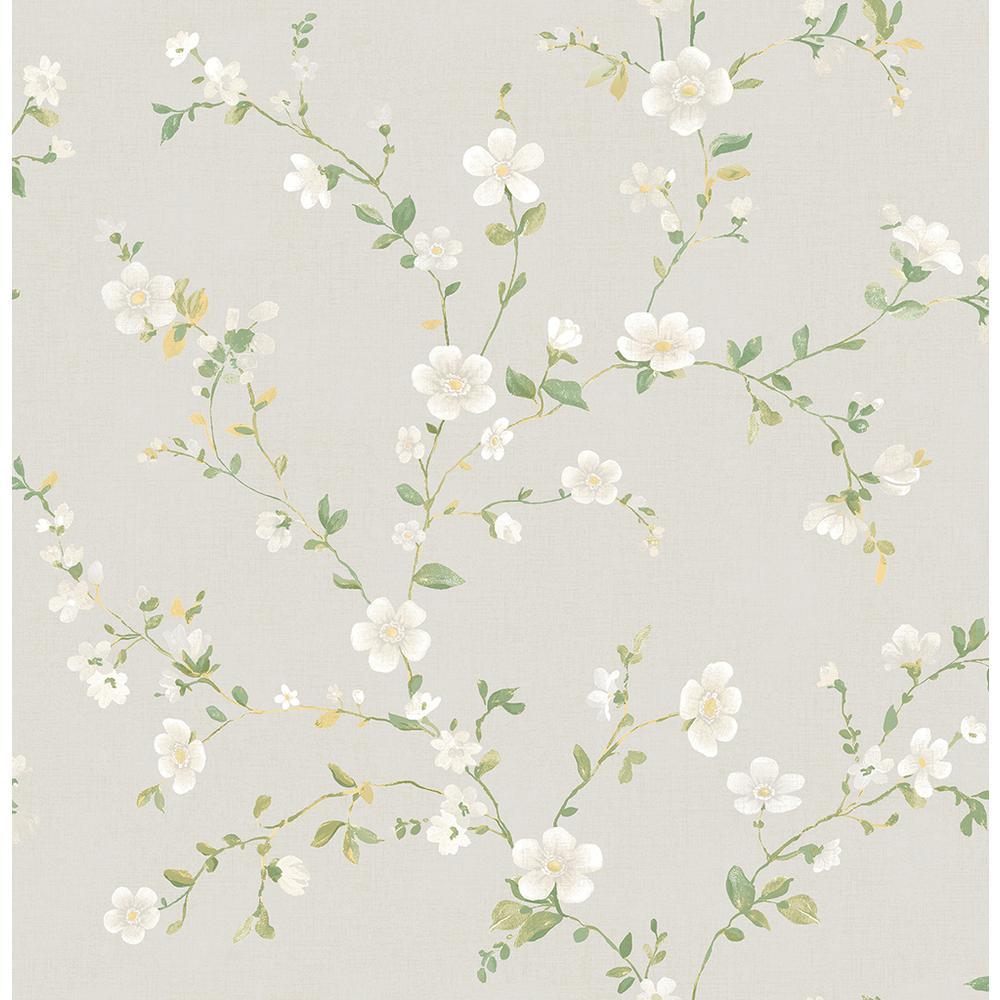 Delphine White Floral Trail Wallpaper Sample