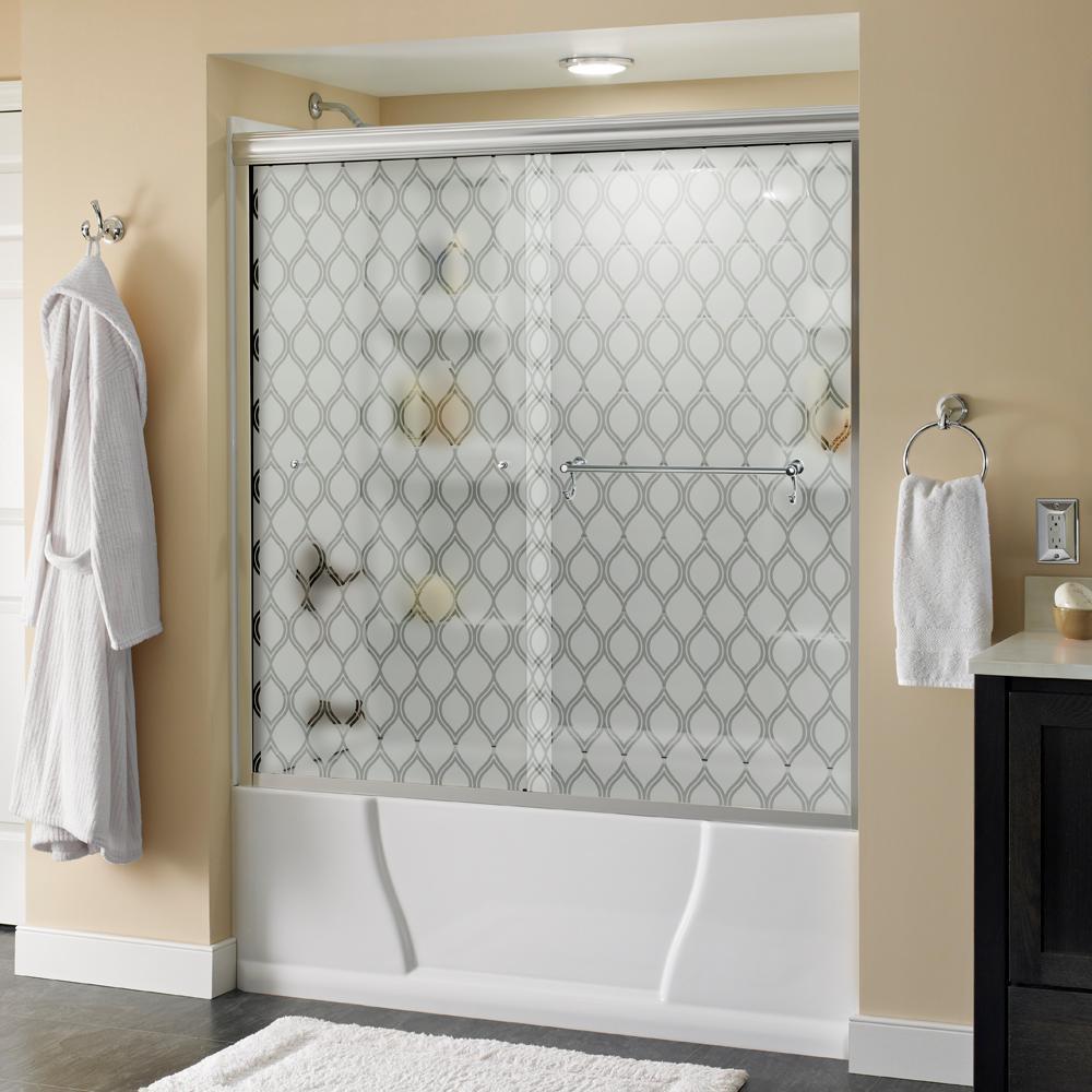 Portman 60 in. x 58-1/8 in. Semi-Frameless Sliding Bathtub Door in Chrome with Ojo Glass