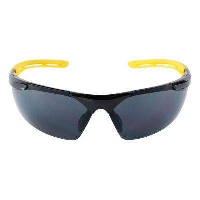 Safety Eyewear Glasses Gray Comfort Black Frame with Yellow Accent Anti Fog and Scratch Resistant Lens (Case of 6)