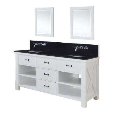 Xtraordinary Spa Premium 70 in. Double Vanity in Pearl White with Granite Vanity Top in Black and Mirrors