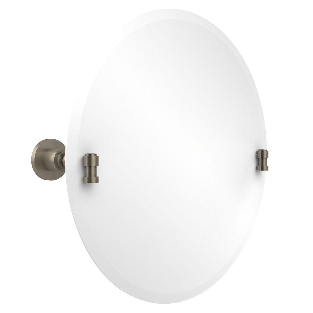 Allied Brass Washington Square Collection 22 in. x 22 in. Frameless Round Single Tilt Mirror with Beveled Edge in Antique Pewter
