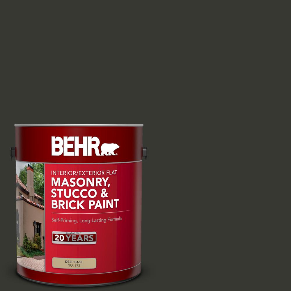 BEHR 1 gal  #T13-3 Black Lacquer Flat Interior/Exterior Masonry, Stucco and  Brick Paint