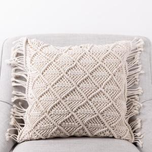 18 in. L x 18 in. W Hollow-Carved Handmade Cotton Rope Pillow Cover with Tassel
