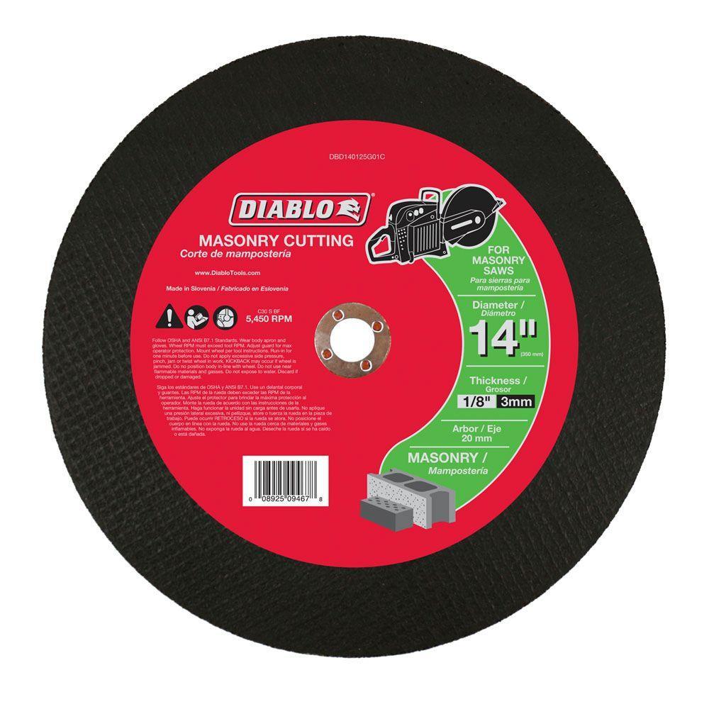 14 in. x 1/8 in. x 20 mm Masonry High Speed Cut-Off Disc