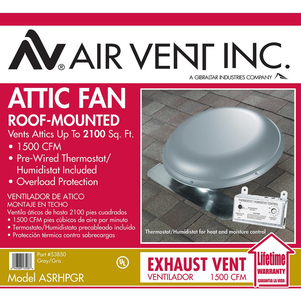 Air Vent 1500 Cfm Mill Finish Galvanized Steel Electric Powered Attic Fan With Built In Humidistat Asrhpml The Home Depot