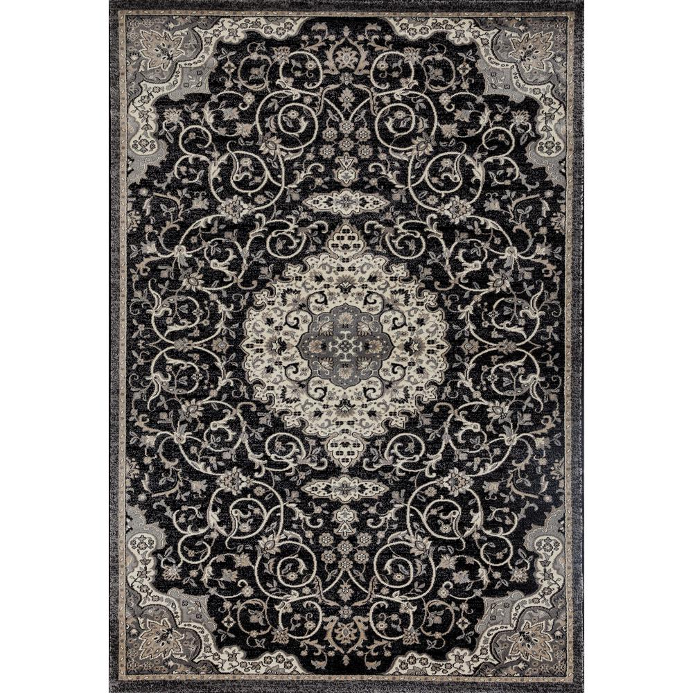 Art Carpet Dexter Calligraphy Black 2 Ft X 4 Ft Area Rug