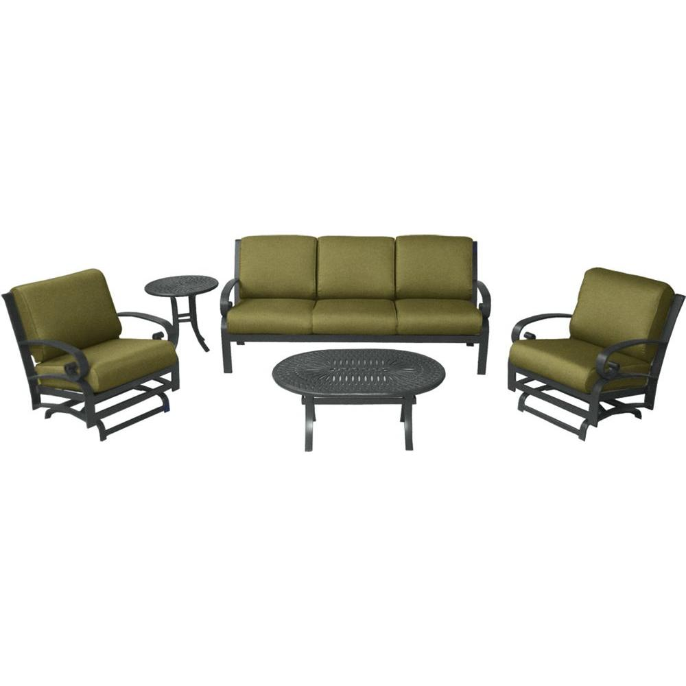 Tradewinds Valle Vista 5-Piece Linen Sesame and Textured Pewter Patio Seating Set-DISCONTINUED