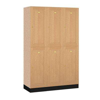 12000 Series 48 in. W x 76 in. H x 18 in. D 2-Tier Solid Oak Executive Locker in Light Oak