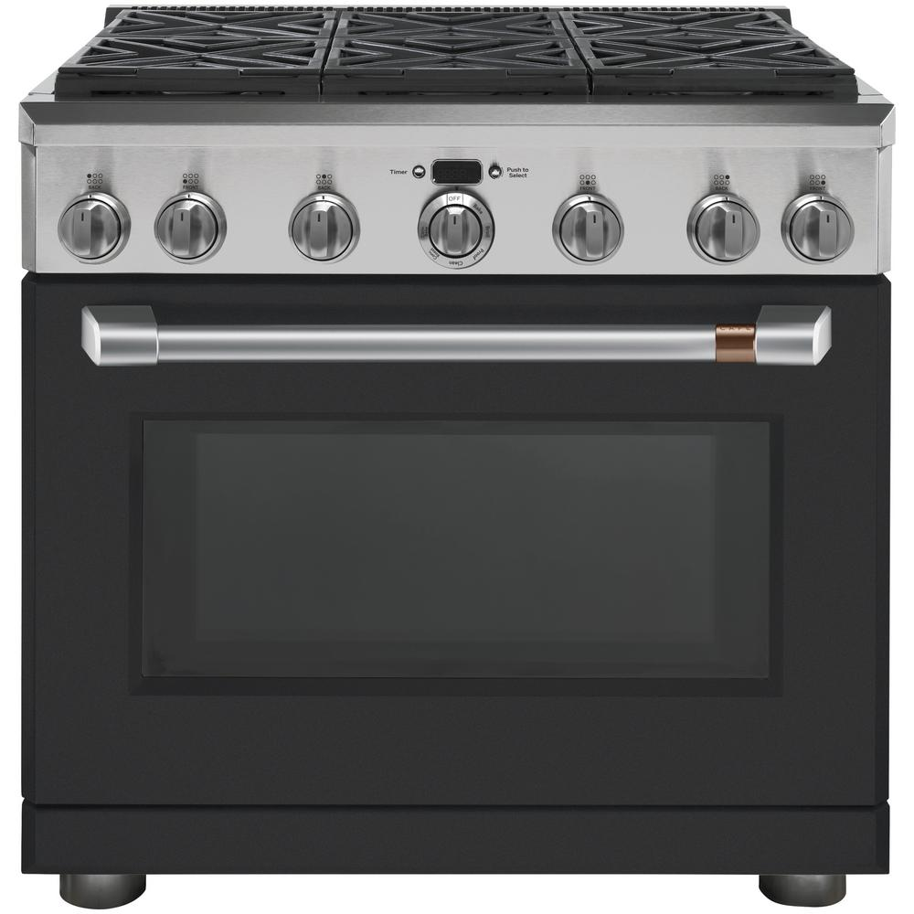 Cafe 36 In 6 2 Cu Ft Gas Range With Self Cleaning Convection Oven In Matte Black Fingerprint Resistant Cgy366p3md1 The Home Depot