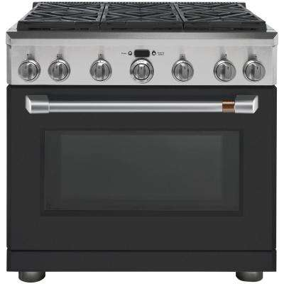 36 in. 6.2 cu. ft. Gas Range with Self-Cleaning Convection Oven in Matte Black, Fingerprint Resistant