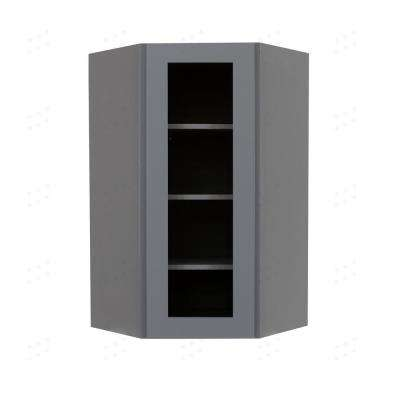 Shaker Assembled 24x42x12 in. Wall Diagonal Mullion-Door Cabinet with 1-Door 3-Shelves in Vintage Stone Wash