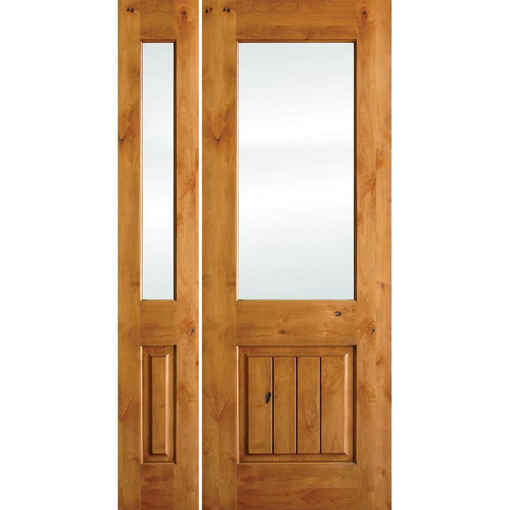 Krosswood Doors 46 in. x 80 in. Rustic Knotty Alder Half Lt V-Grooved Unfinished Left-Hand Inswing Prehung Front Door/Left Sidelite