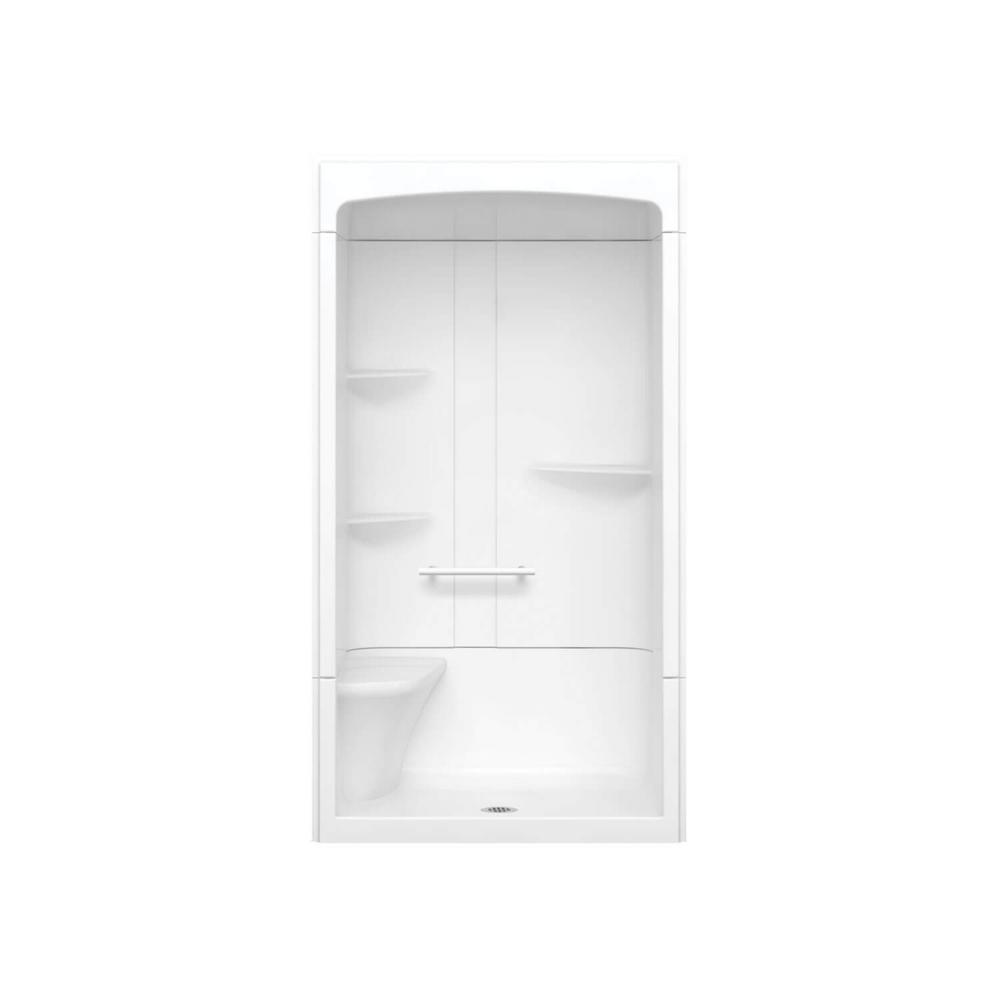 Camelia 48 in. x 34 in. x 88 in. Alcove Shower Stall with Center Drain Base and Left-Hand Seat in White