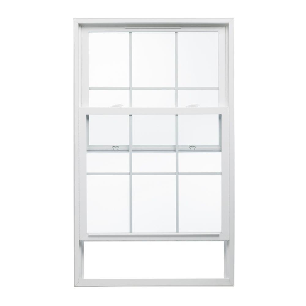 JELD-WEN 35.5 in. x 47.5 in. V-2500 Series White Vinyl Single Hung Window with Colonial Grids/Grilles