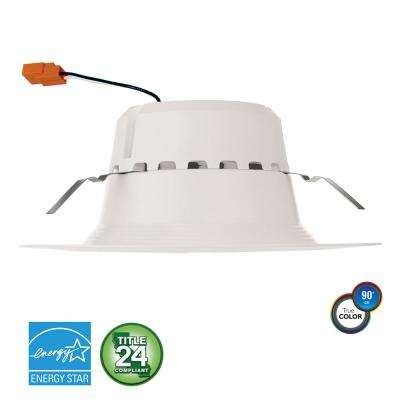 5 in. and 6 in. 120-Watt Equivalent 21-Watt, Matte White Dimmable Recessed Integrated LED Downlight Trim