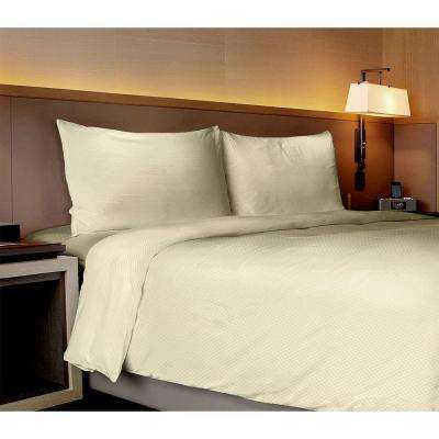 Willow Collection Checkerboard Ivory King Sheet Set (4-Piece)