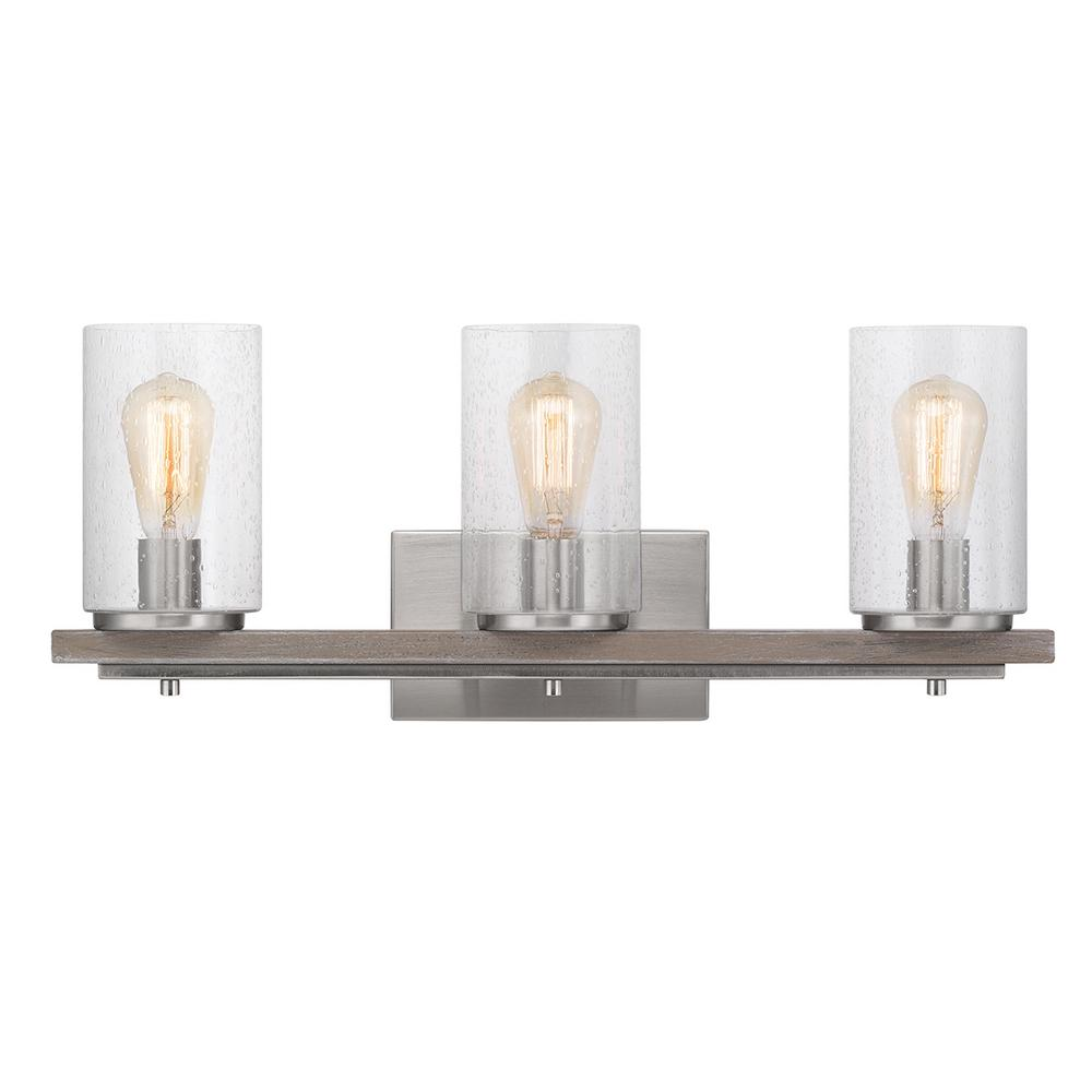 HomeDecoratorsCollection Home Decorators Collection Boswell Quarter 3-Light Brushed Nickel Vanity Light with Painted Weathered Gray Wood Accents