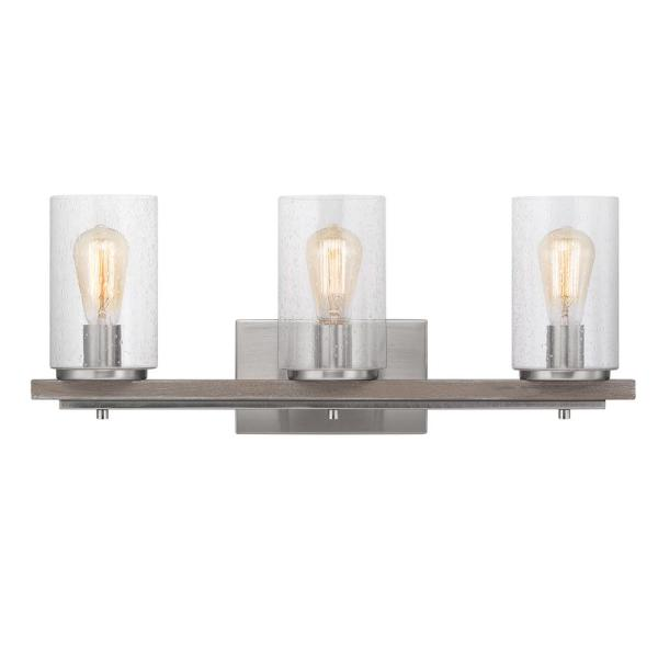 Boswell Quarter 3-Light Brushed Nickel Vanity Light with Painted Weathered Gray Wood Accents