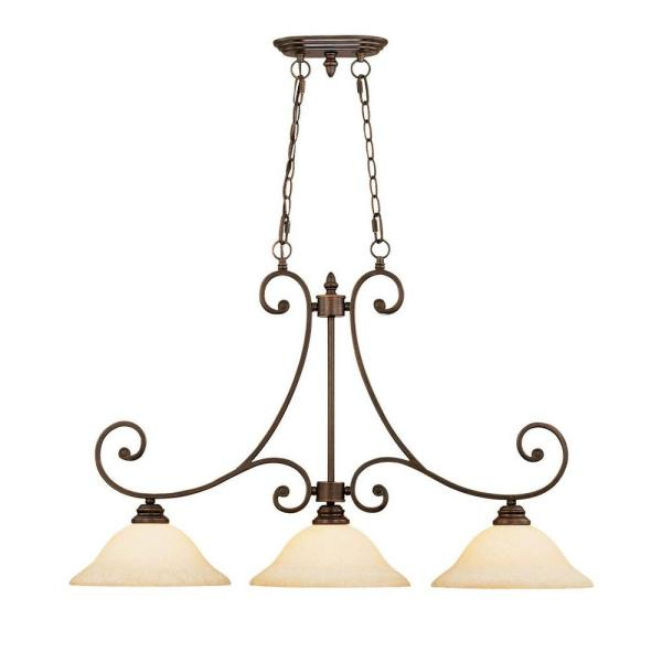 3-Light Rubbed Bronze Island Light with Turinian Scavo Glass