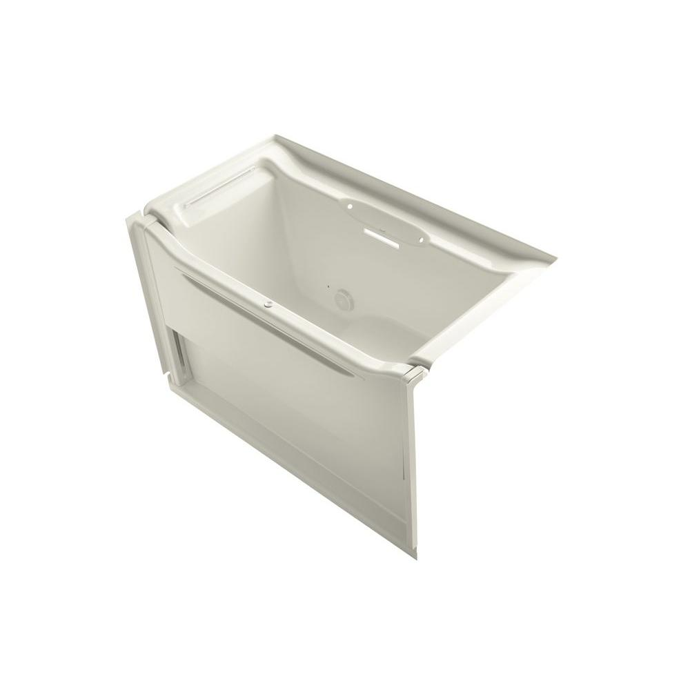 KOHLER Elevance 5 ft. Rectangle Acrylic Left Drain Rectangle Alcove Non-Whirlpool Bathtub in Biscuit