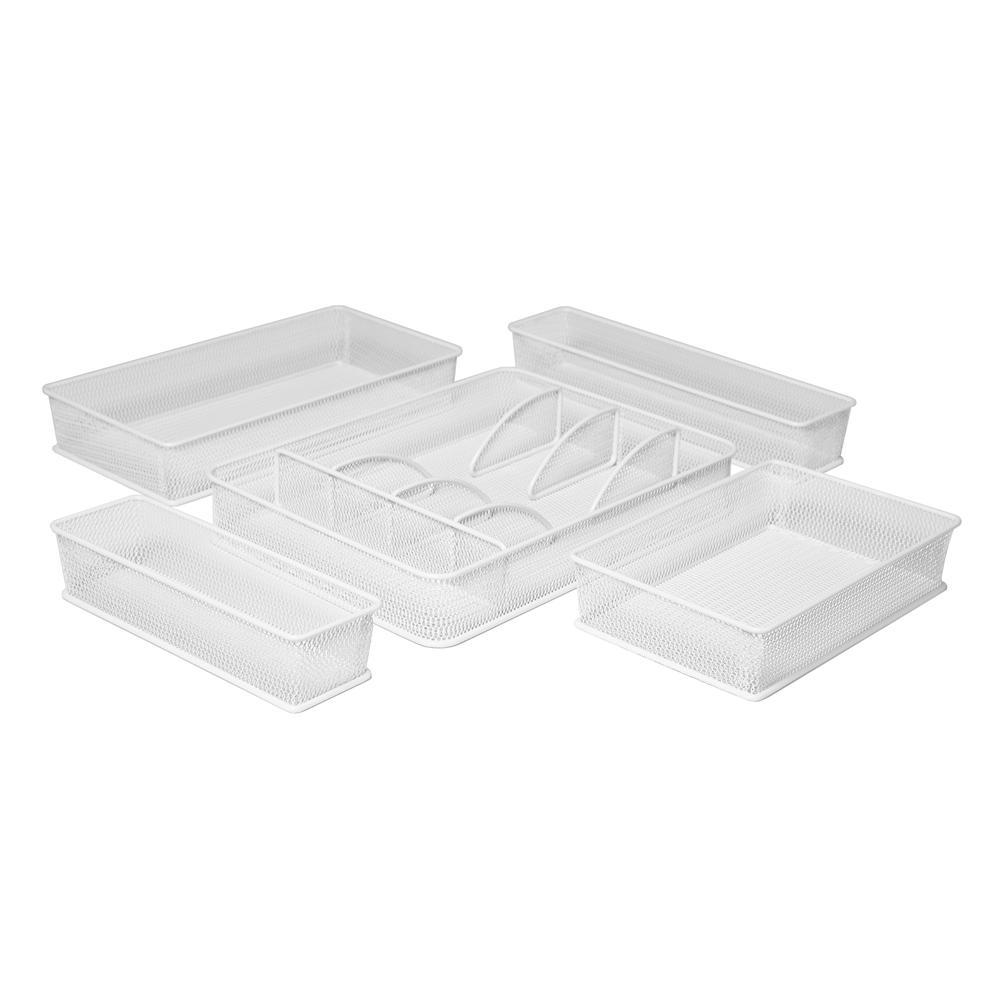 White Steel Mesh Flatware Utensil Cutlery Tray Drawer Organizer and Box