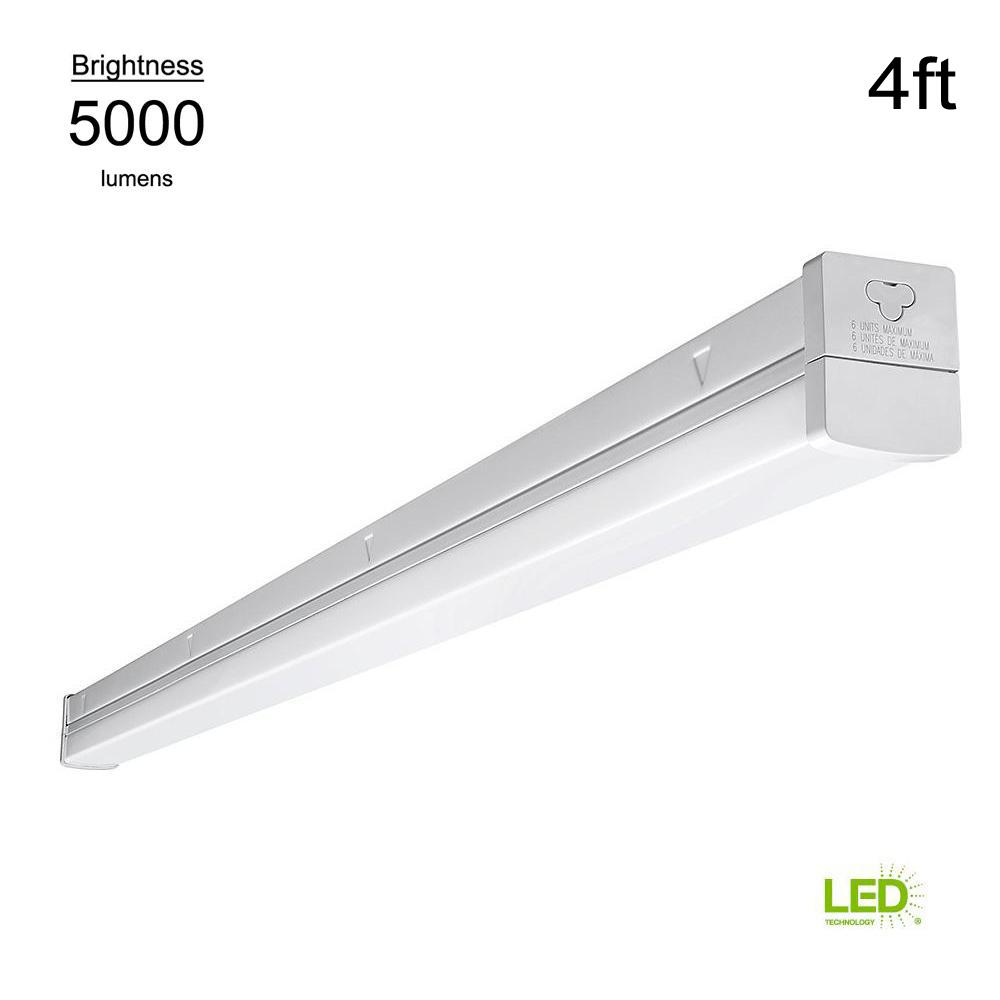 4 ft Integrated LED Strip Light Surface Mount Commercial White MV 5000 Fixture
