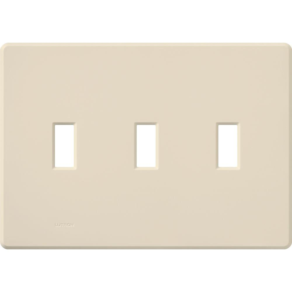 Lutron Fassada 3 Gang Wallplate for Toggle-Style Dimmers and Switches, Light Almond