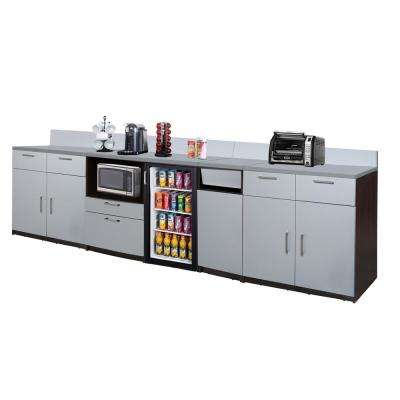 Coffee Kitchen Espresso / Silver Sideboard with Lunch Break Room Functionality with Assembled Commercial Grade 3404