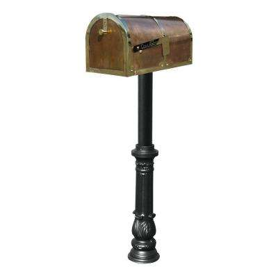 MB-3000 Polished Brass Post Mount Non-Locking Mailbox with Black Hanford Post System