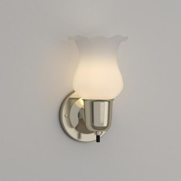 Westinghouse 1 Light Brushed Nickel Interior Wall Fixture With On Off Switch And White Opal Glass 6665400 The Home Depot