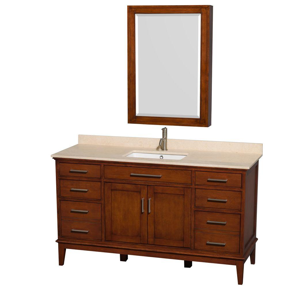 Hatton 60 in. Vanity in Light Chestnut with Marble Vanity Top