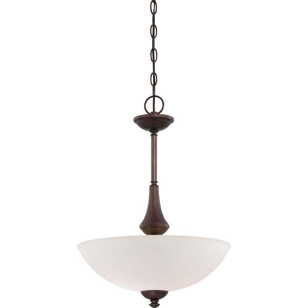 3-Light Prairie Bronze Pendant with Frosted Glass Shade and 13-Watt GU24