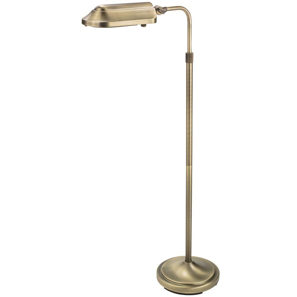 Verilux Heritage 39 in. Antiqued Brushed Brass Natural Spectrum Floor Lamp with Full Rotation Head and Adjustable Arm