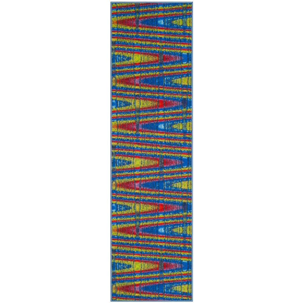 Aztec Blue/Multi 2 ft. x 8 ft. Runner Rug