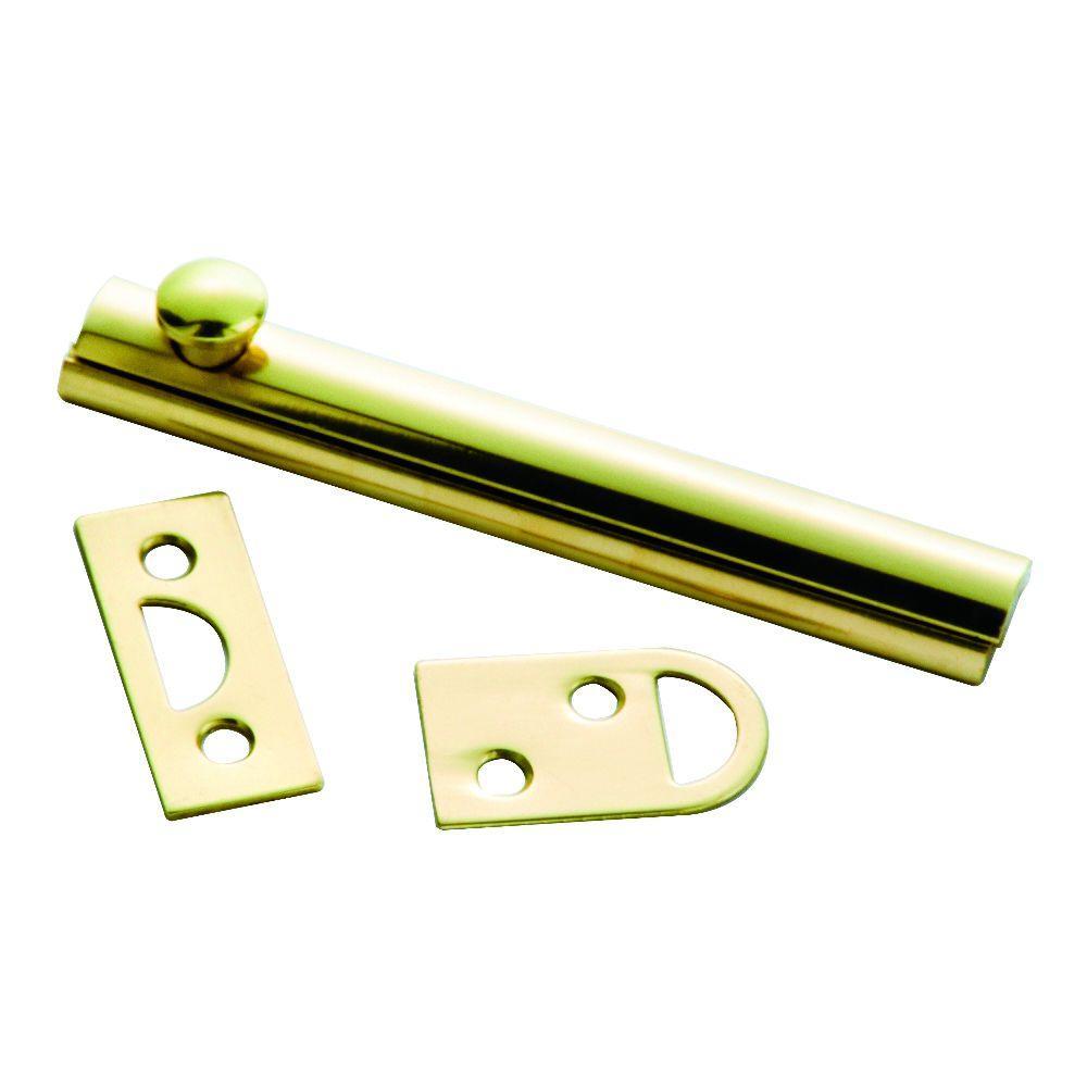 4 in. Polished Solid Brass Slide Door Bolt